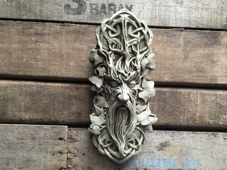 Green Man Forest Wall Plaque Made from Reconstituted Stone