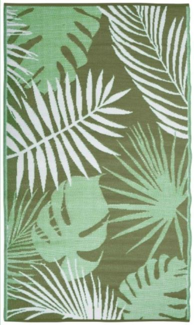 Rug with plant prints, suitable for the outdoors
