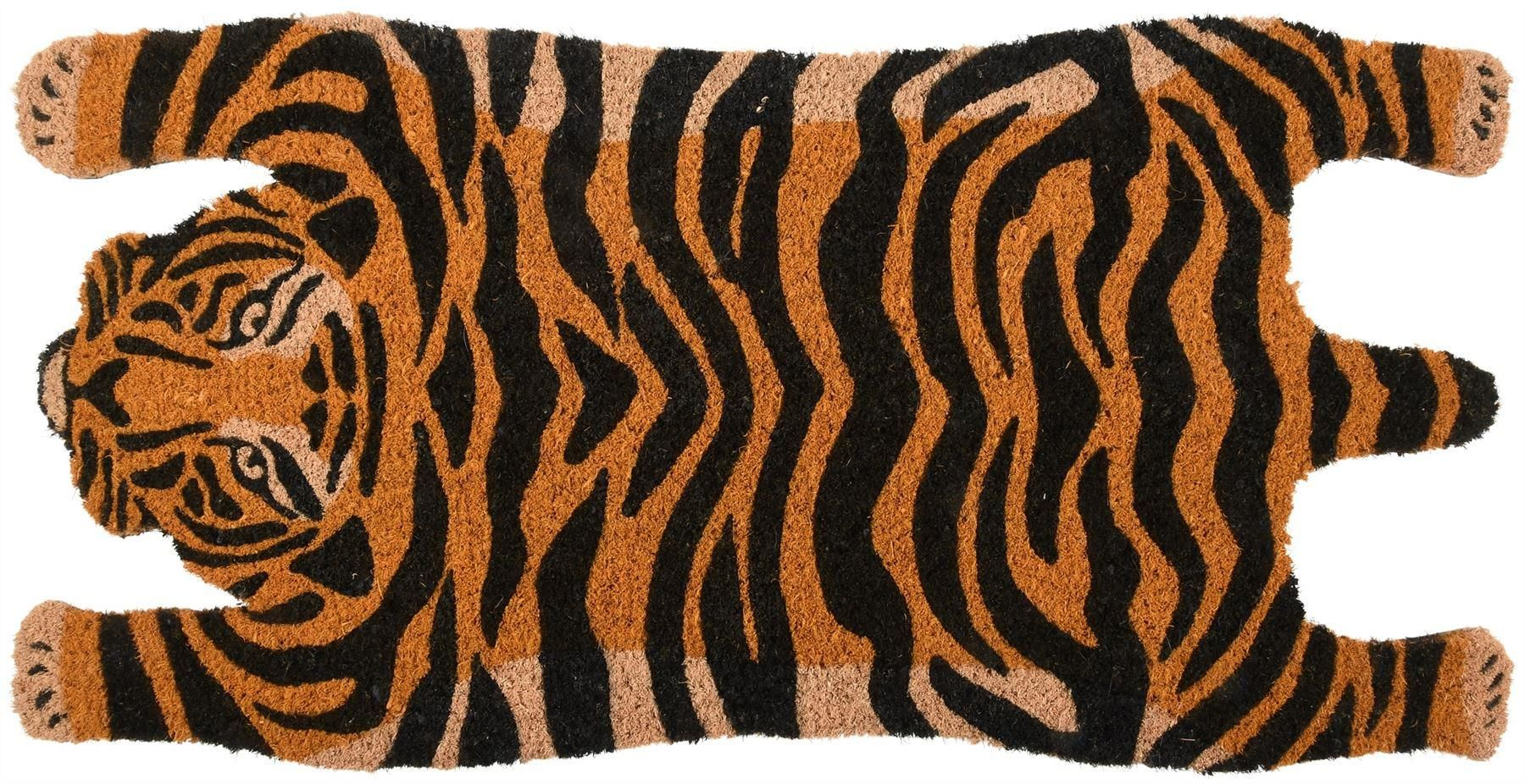 Doormat shaped like a tiger