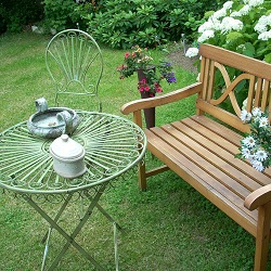 Garden bench, table and chairs
