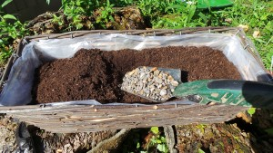 2 - Partially fill your basket with multi purpose compost mixed with some grit or stones SMALL