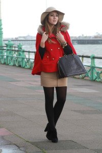 Colourful accessory coat in winter model wearing clothes