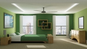Green painted walls in a bedroom. Decorating