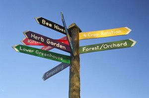 Signpost giving direction through a garden and park