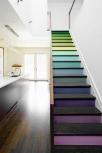 Stairs painted in bright colours