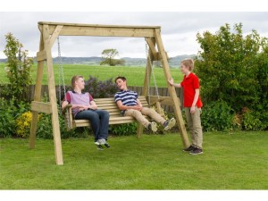 swing seat in the garden for relaxing