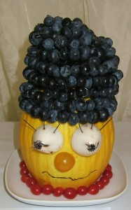 Fruit and Veg Simpson have fun with the children outdoors