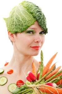 Vegetable hat made from cabbage