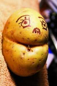 Face made from a strangely shaped potato. Fun in the garden outdoors