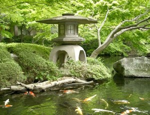 Japanese garden in Hammersmith Park, London, design