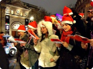 Carol singing, Christmas, gardens, festive, warmth