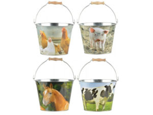 farmyard bucket, bucket, kids, horse, chicken, pig, cow, playing, outdoors, kids in the garden,