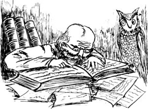 ancient philosopher pouring over a book, wise owl, wise words, christmas giving,