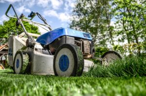 garden mowers should be cleaned and dried before being put away in a garage of shed for the winter break.