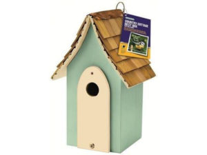 bird nesting box with a cedar roof looks like a country cottage