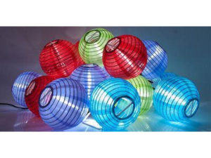 solar string of chinese lanterns in red, blue and purple