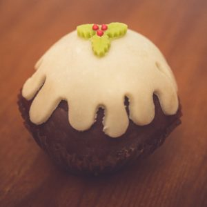 festive food a christmas muffin with sweet icing and chocolate base is unhealthy food