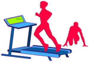 using a treadmill in a gym in order to keep fit at Christmas when we eat too much sugary food