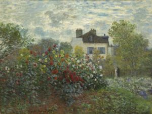 painting of a cottage garden with herbaceous border and property in the background