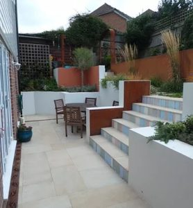 garden steps, wide steps, sloping garden, attractive steps in a small garden, dealing with a sloping garden,