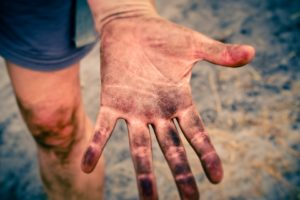 dirty hands outdoors