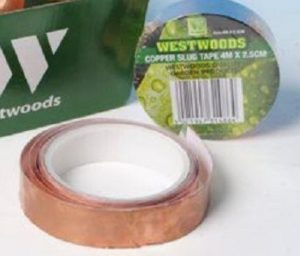 roll of copper tape to keep slugs at bay