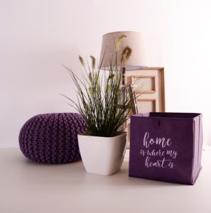 house plant in white pot with purple accessories
