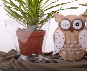 Wooden owl with a house plant